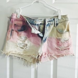 Bullhead Multi-Colored Ripped Jean Shorts